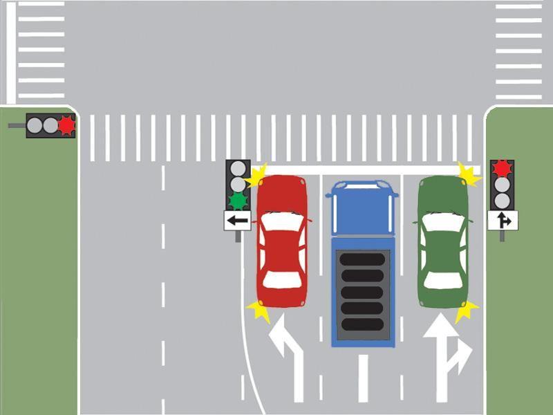 Ce autovehicul îşi poate continua deplasarea în imaginea prezentată? itemprop=